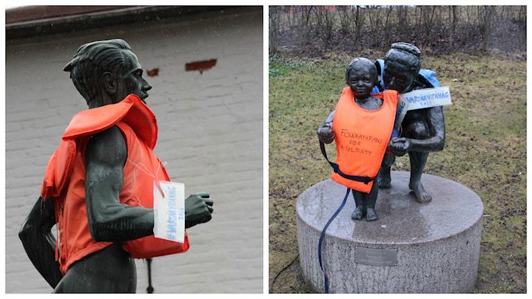 I dag kunde man se statyer med flytvästar i Gävle.