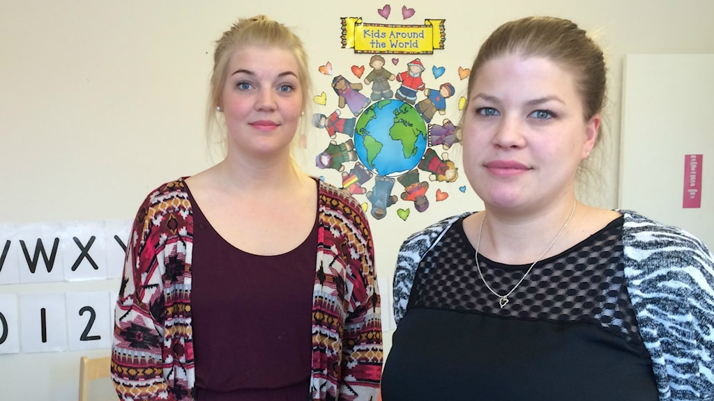 Emilia Forell och Helena Stenberg på förskolan Uttern i Söderhamn ser fram emot att få arbetskläder.