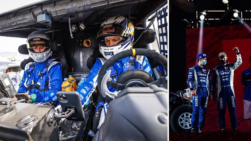 Två män i en rallybil iklädd vita hjälmar och blå ställ.