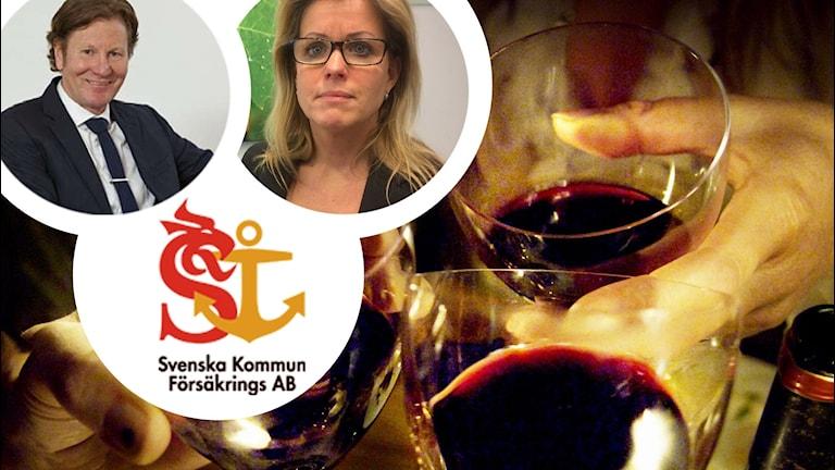 Bilder på Svenska kommun försäkrings AB logga, Björn Ryd, Åsa Wiklund Lång (S) mot en bakgrund av vinglas i händer som skålar.