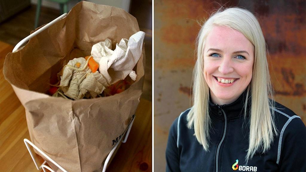 Ida Blomqvist, renhållningschef på Borab, om att ta bort matavfallspåsarna i butikerna.