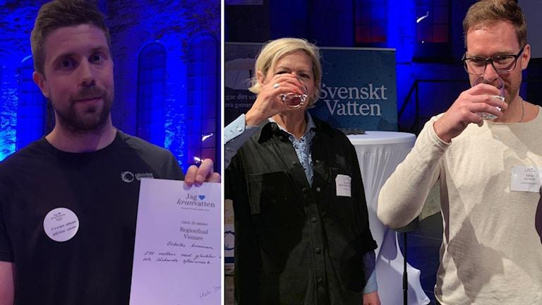 Rickard Hedlund, representant Ockelbo kommun, tillsammans med Gunilla Hultgren Karell, ordförande i juryn samt Erik Vestin.