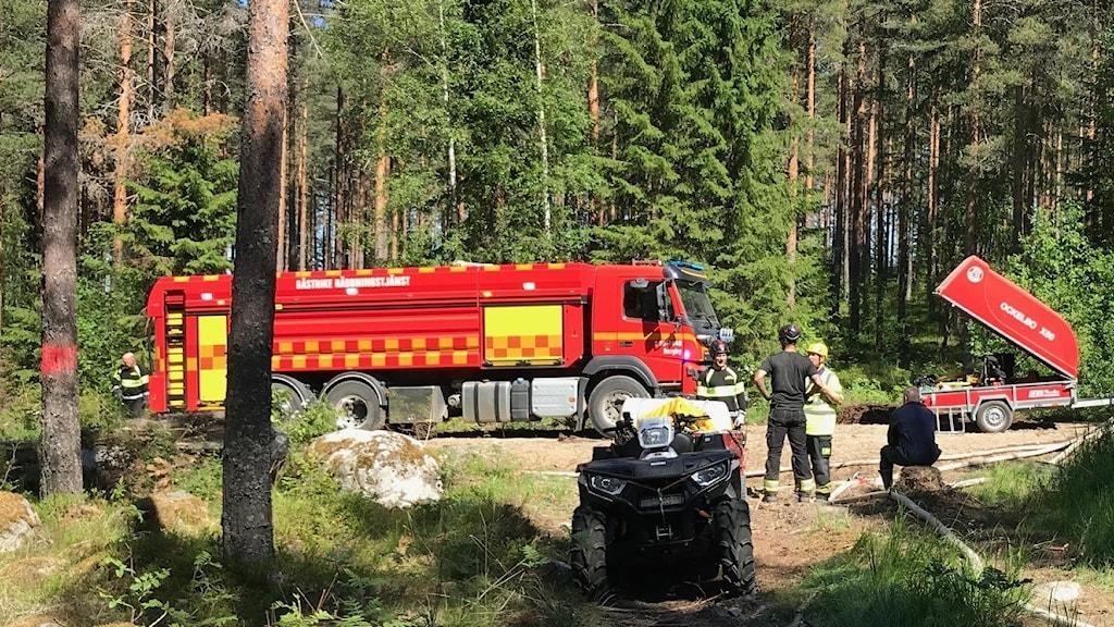 Brandbilar skogsbrand