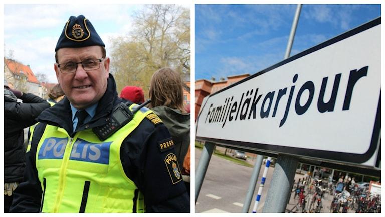 Kollagebild på Christer Nordström och en skylt som det står Familjeläkarjour på.