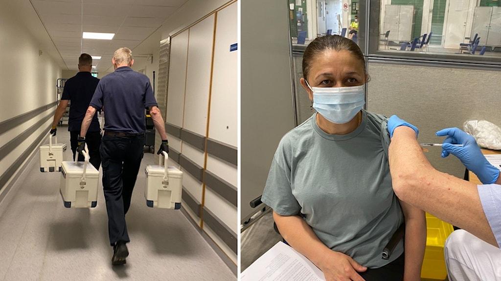 Män bär väskor, kvinna får spruta i arm.