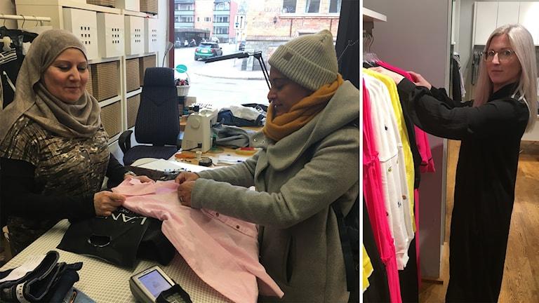 Khatam Aboras och Evelyn Salinas inne på Gävle Sömmerska. Viktoria Karlsson, butikschef på MQ i Gävle.