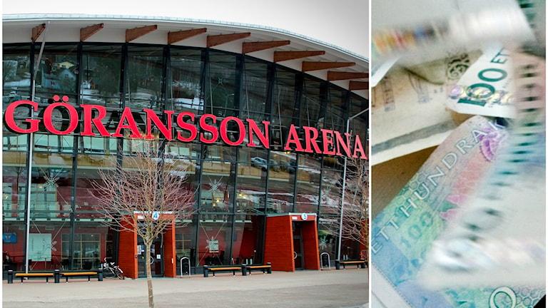 Göransson Arena och en bild på sedlar som ramlar ner.