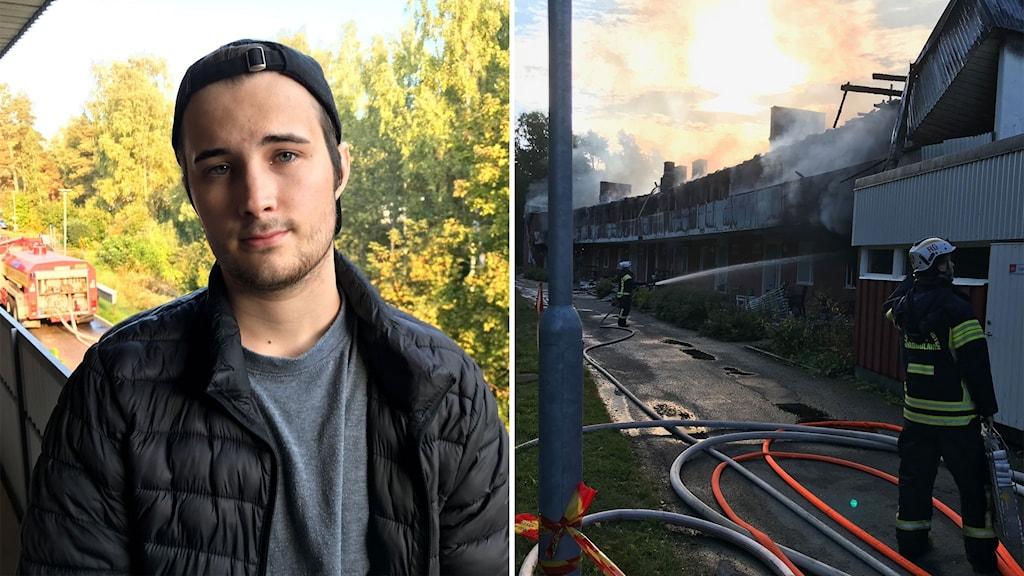 En bild på Hugo Johansson i svart keps och svart jacka står på en balkong, i bakgrunden syns en brandbil. En bild på två brandmän som jobbar med eftersläckning vid en utbrunnen huslänga.