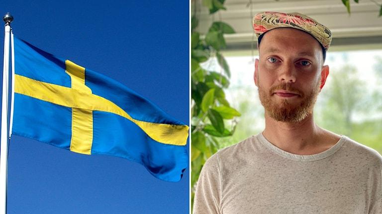Svensk flagga mot blå himmel, porträttbild på man i keps och skägg.