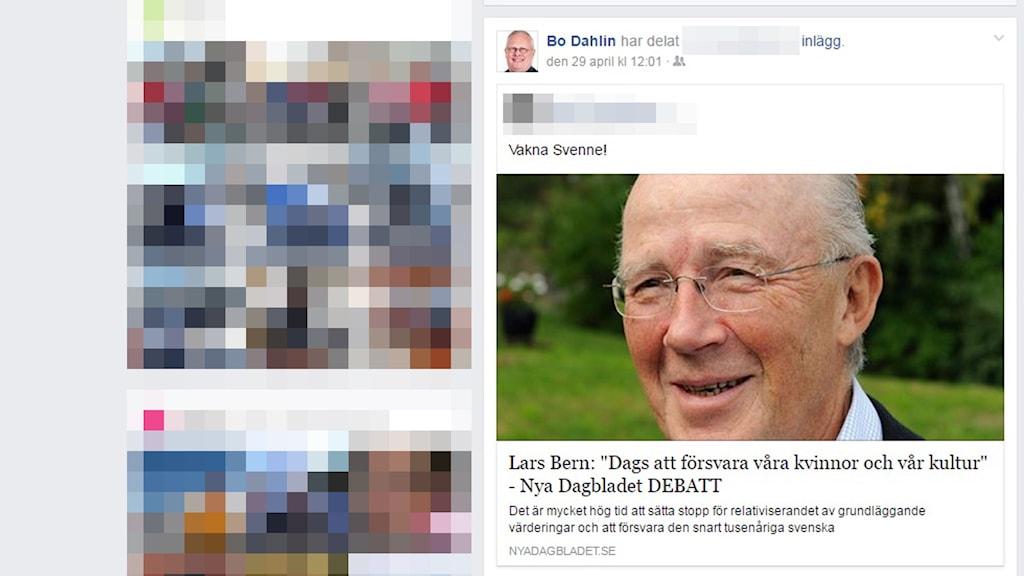Bo Dahlin (SD) sprider inlägga från bland annat Nya Dagbladet, vars ansvarige utgivare har rötter i högerextrema Nationaldemokraterna.