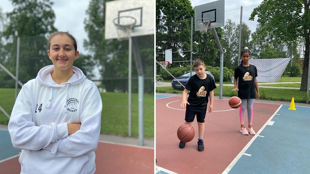 Vänster en kvinna, höger två barn på en basketplan.