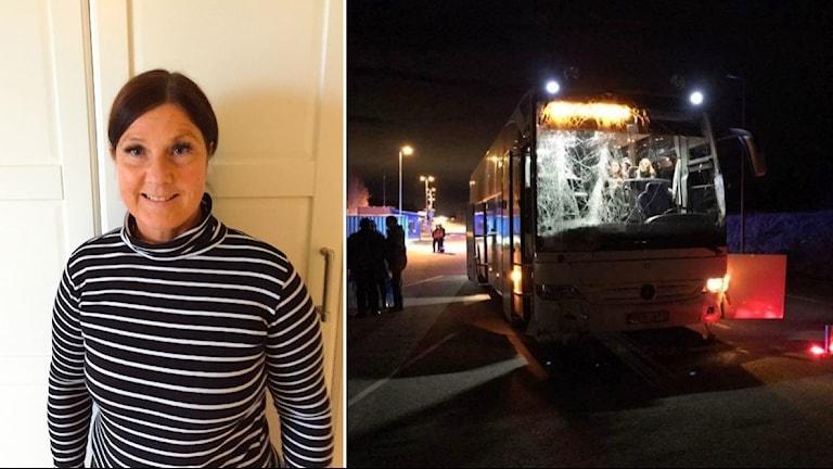 Lena Lindgren, bussresenär i en randig tröja. Bredvid syns bilden på bussen i mörker med spräckt framruta.