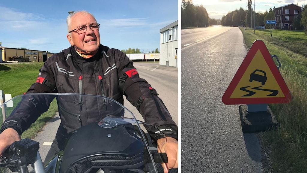 En bild på Leif Jonsson på sin motorcykel och en bild på en skylt som varnar för hal vägsträcka.