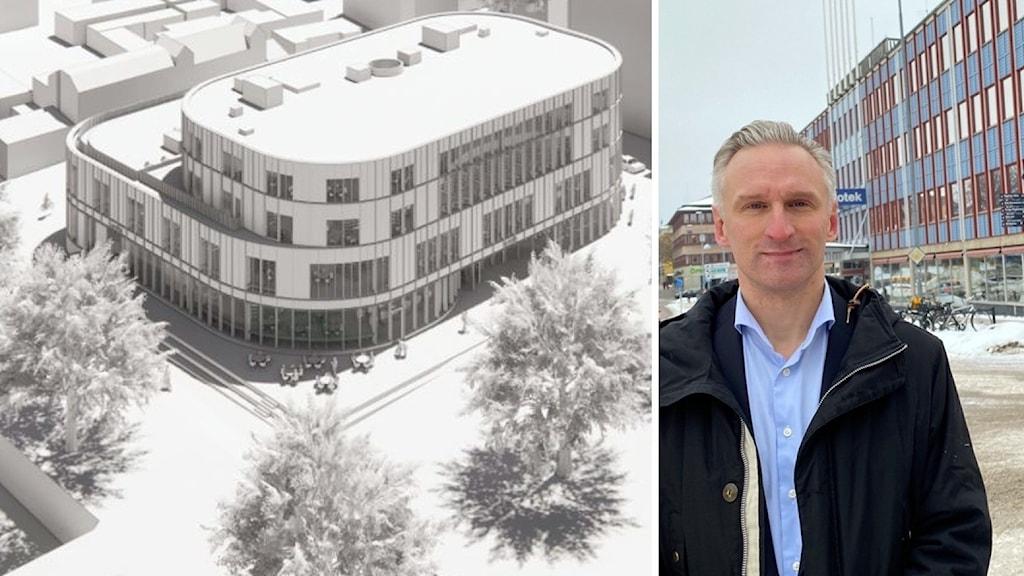 En svartvit bild på nya kulturhuset. En man och en kvinna