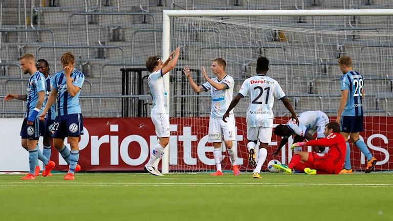 Geflejubel efter 1-1 av Johan Bertilsson en allsvensk fotbollsmatch mellan Djurgården och Gefle IF på Tele2 Arena i Stockholm.