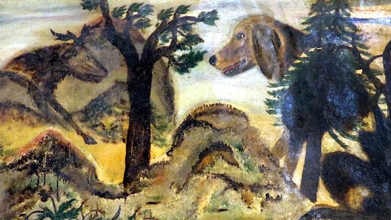Digitaliserad bearbetning som Hembygdsföreningen gjort. Nyligen återfunnen målning av Lim-Johan. Bilder från Ovanåkers Hembygdsförening/Edsbyns Museum.