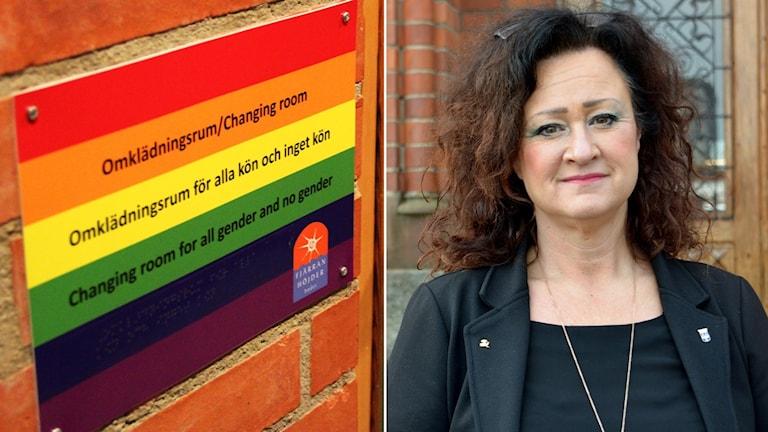 Victoria Strandberg-Zarotti, biträdande rektor på Vallbacksskolan, tror att skolorna kan behöva ta över Fjärran Höjder-badet framöver när det kommer till könsneutrala omklädningsrum.
