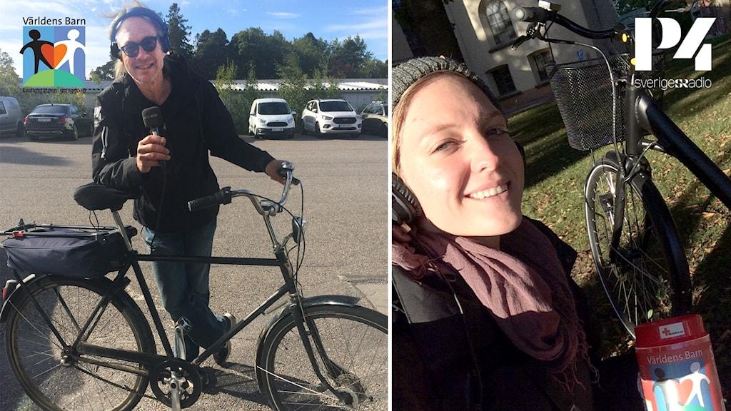 Programledarna Larry Forsberg och Patricia Ståhl cyklade runt och samlade in pengar till Världens barn under måndagsförmiddagen.