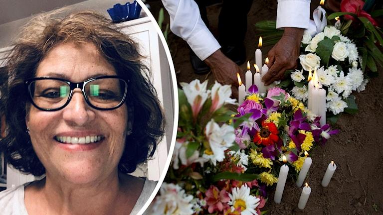 En bild på en mörkhårig kvinna i glasögon samt blommor och ljus.