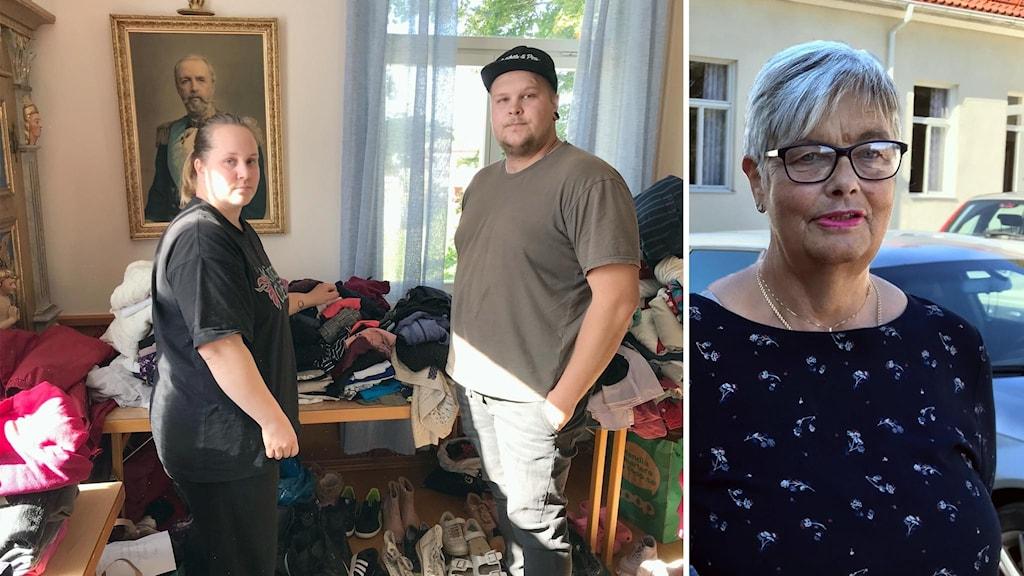 Malin Uddénius och Anton Söderlind står bland skänkta kläder. Katrin Olsson har lämnat hygienartiklar.
