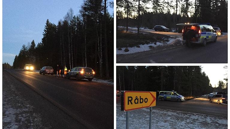 Kollage med bilder från Råbo, norr om Hudiksvall från fredagsmorgonen.