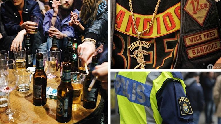 Ett kollage med bilder på ölflaskor, en person med polisväst och en bild på en bandidoströja, halsband och väst
