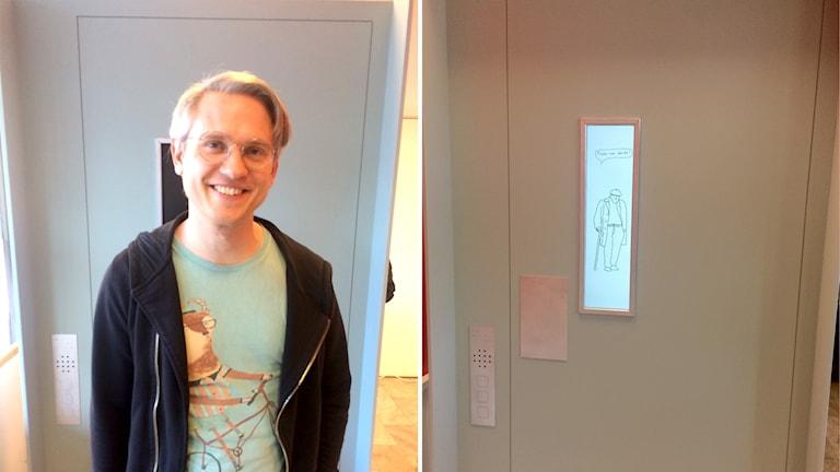 Max Hebert är processledare för utställningen där elever från Konstfack har tolkat berättelser från invånare på Brynäs och i Hamrånge. Hissen är ett av konstverken som visas på Kulturum.