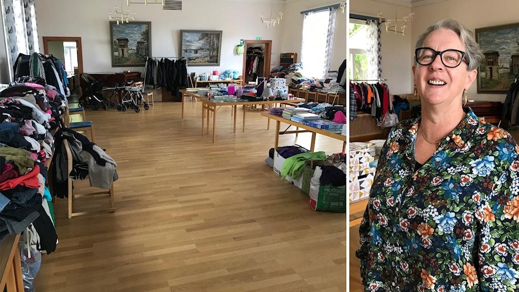 Kvinna - insamlade kläder på bord