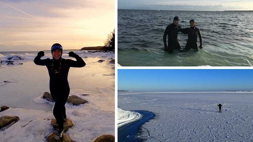 Kollage med Lotta Malmberg, isvakssimmare som står och flexar på isen och badar isvak