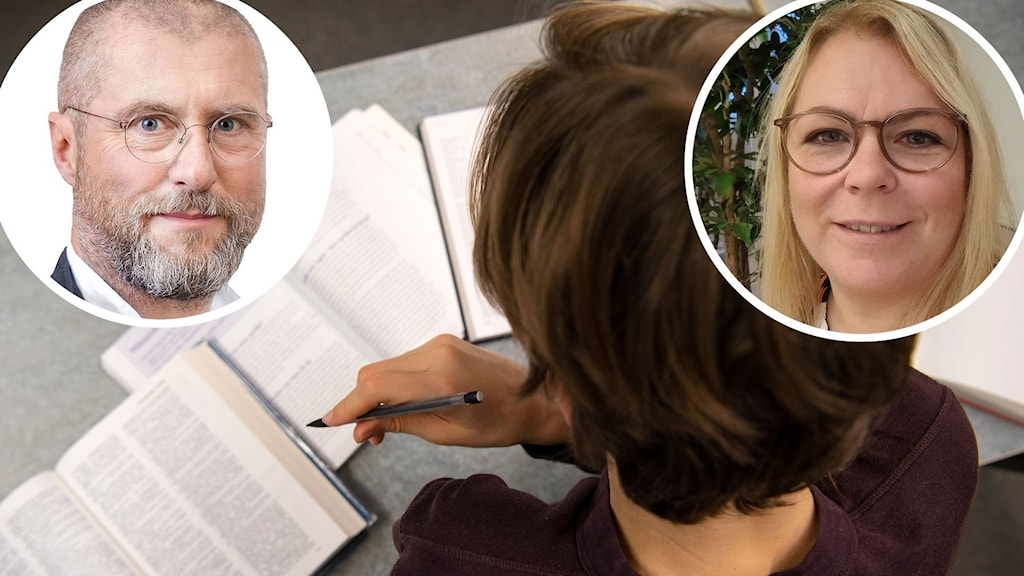 En elev som sitter över skolböcker. Två infällda bilder, en på Per Kornhall och en på Anna Söderlund.