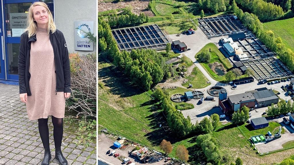 Till vänster processingenjör Elisabet Aulenius, till höger en flygbild över Duvbackens reningsverk i Gävle.