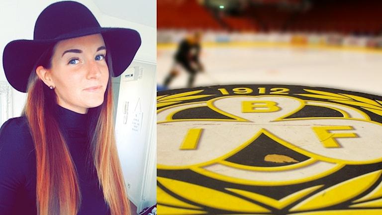 En bild på Sara Jakobsson i svart polotröja och svart hatt till vänster. Till häger en bild på Brynäs IF-loggan och en person i Brynäs-kläder