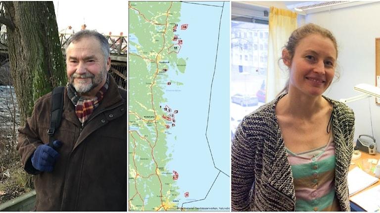 Kollagebild bestående av tre bilder. En man (Peter Hansson), en kartbild över Gävleborgskusten och en kvinna (Carolyn Faithfull).