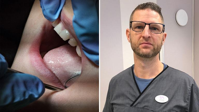 En bild från ett tandläkarbesök och Thomas Alfredsson som äger TA-tandvård.