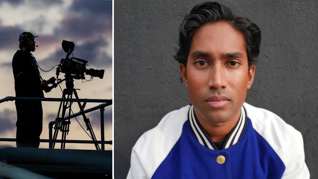 Filmkamera i motljus och en svarthårig mörkhyad kille i blåvit jacka.