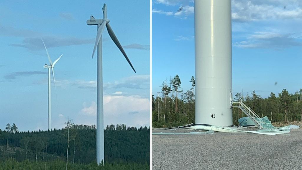 vindkraft tönsen trasig vinge på marken.