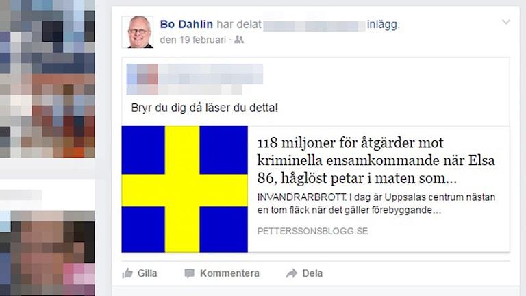 Bo Dahlin har spridit inlägg från hemsidan petterssonsblogg.se som enligt stiftelsen Expo pekas ut som pronazistisk.