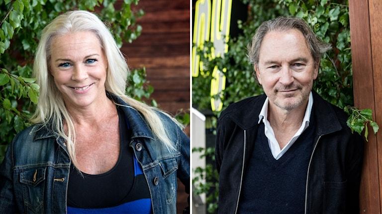 Malena Ernman och Thomas Ledin fotograferade framför Allsångsscenen.