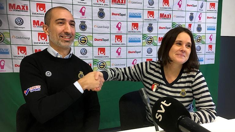 David Norell-Hussein blir ny klubbdirektör för Gefle IF. Malin Rogström ör tf ordförande i Gefle IF fotboll.