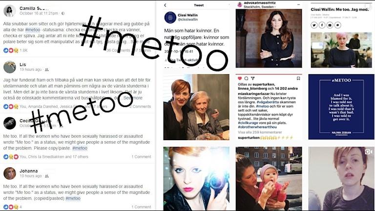 Skärmklipp från facebook och instagram med vittnesmål och hashtaggen #metoo.