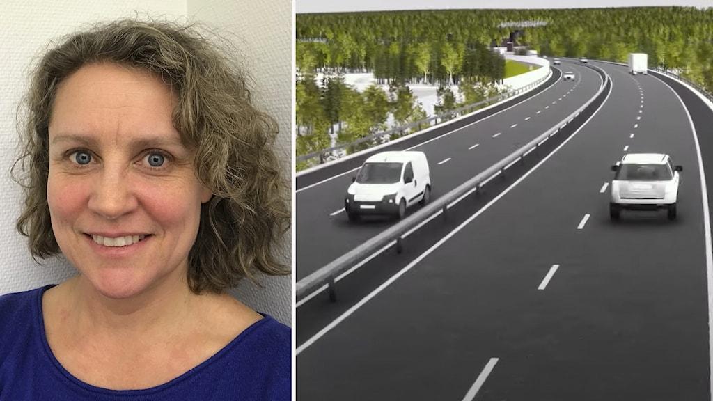 Bild på kvinna till vänster. Till höger en ritad bild på en ny väg med bilar.