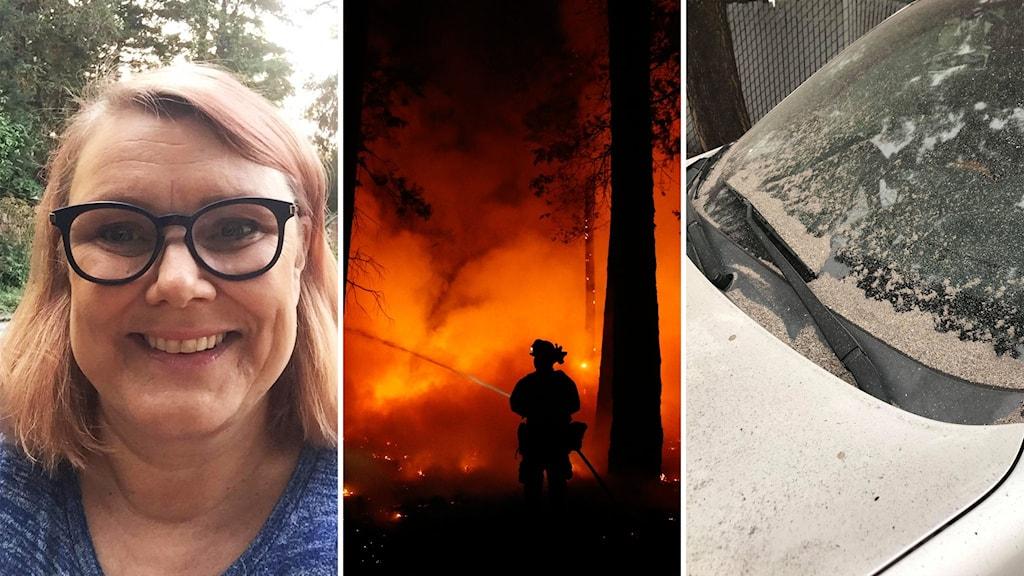 Kvinna, skogsbrand, bil