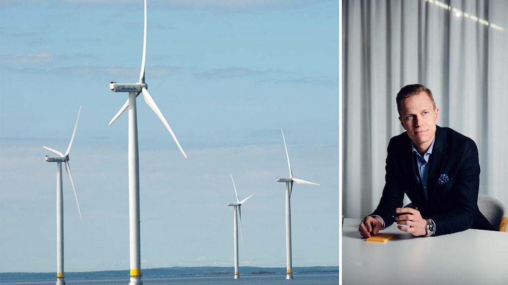 Vänster, flera vindkraftverk, höger man i kostym