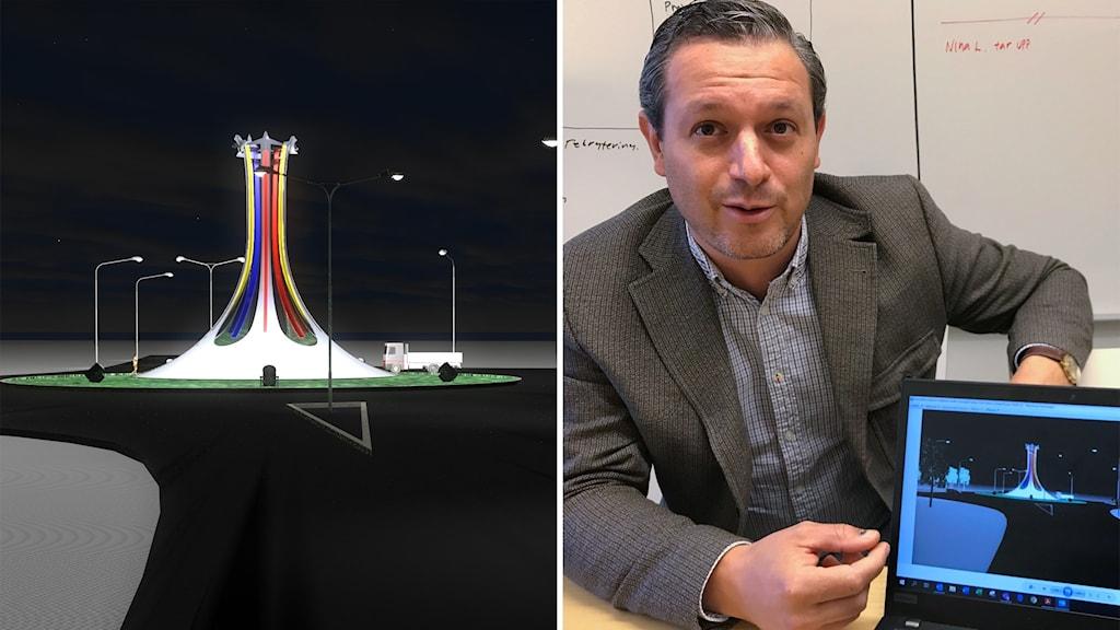 Ny installation i rondell i Söderhamn. Ali Nefzi, chef för tekniska förvaltningen i Söderhamn