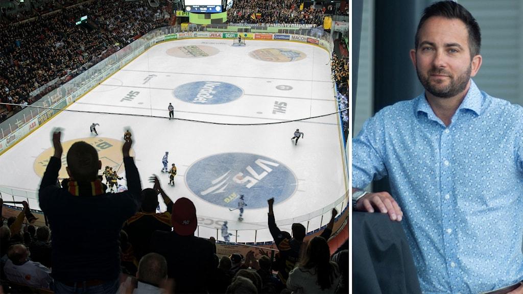 En bild på en supporter som hejar på Brynäs inne i en välfylld hockeyarena. En bild på Michael Campese i ljusblå skjorta.