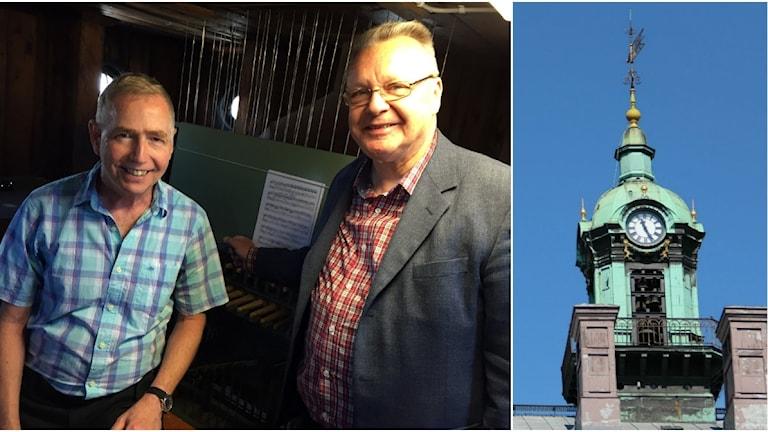 Gästorganisten Gerald Martindale och musikdirektören Owe Rosén.