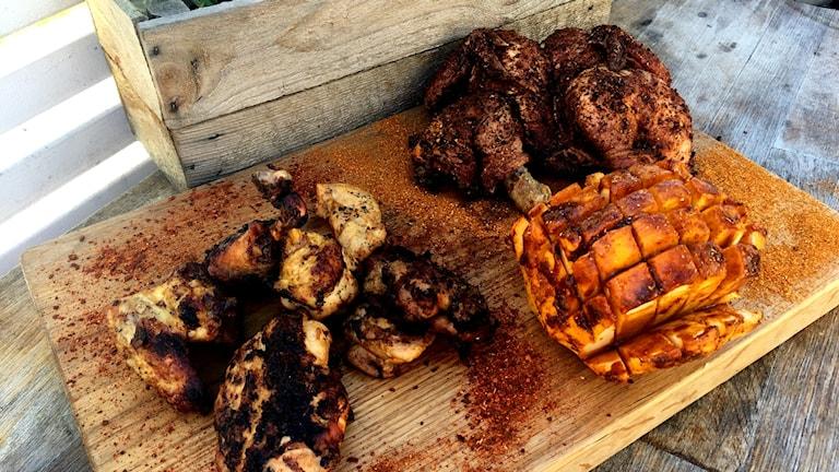 Kyckling och kålrot med marinad, glaze och rub.