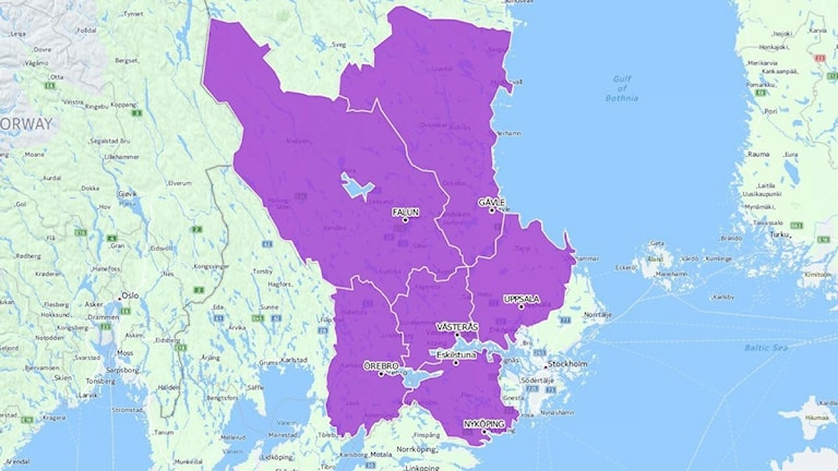 Gävleborg, Dalarna, Uppsala, Västmanland, Örebro och Södermanlans län markerade på karta.