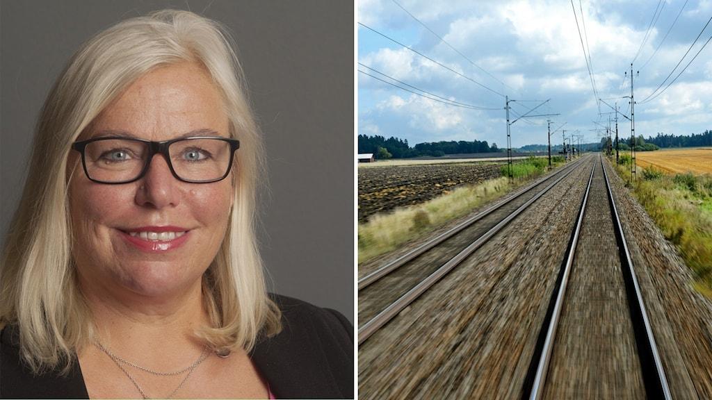 Till vänster lobbyorganisationen Nya Ostkustbanans VD Ingela Bendrot. Till höger ett dubbelt järnvägsspår.
