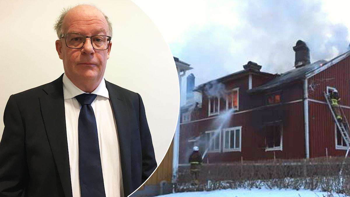 Miljöåklagare Stig Andersson till vänster och till höger en bild på en villa som brinner och räddningstjänst som försöker släcka.